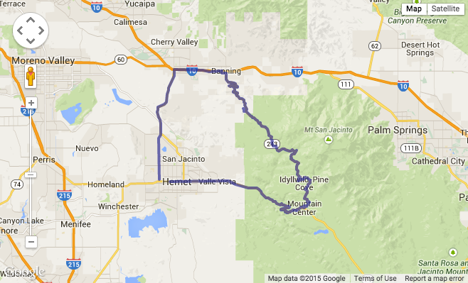 Hemet Idyllwild Motorcycle Run Riding Routes